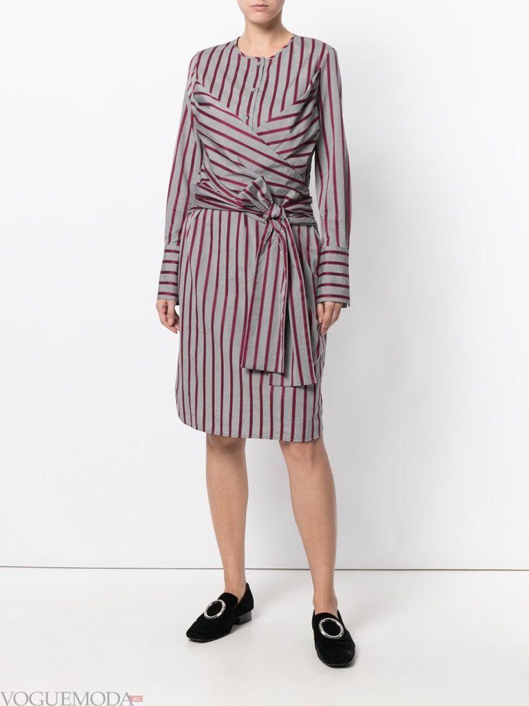офисное платье-рубашка с поясом