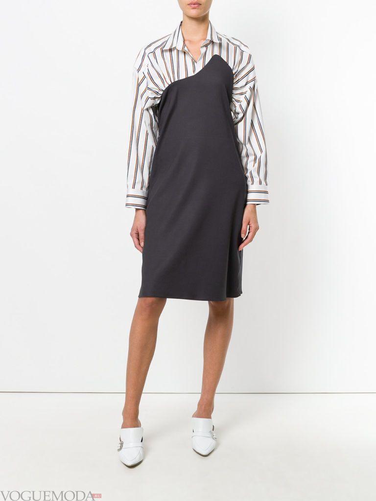 офисное платье-рубашка комбинированное