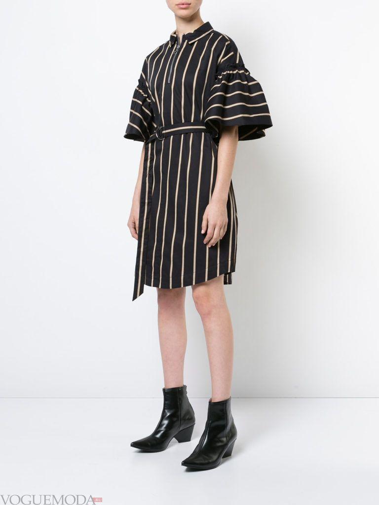 офисное платье-рубашка полосатое