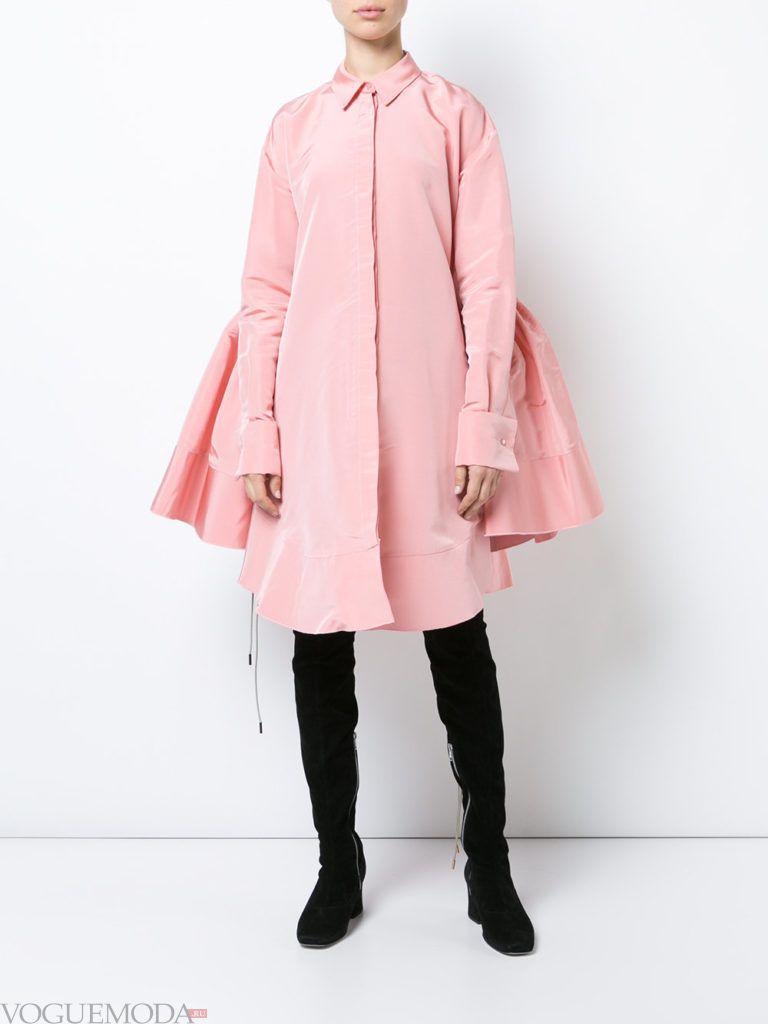 офисное платье-рубашка розовое