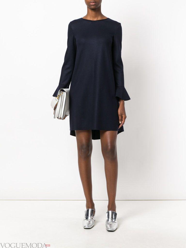 офисное свободное платье синее