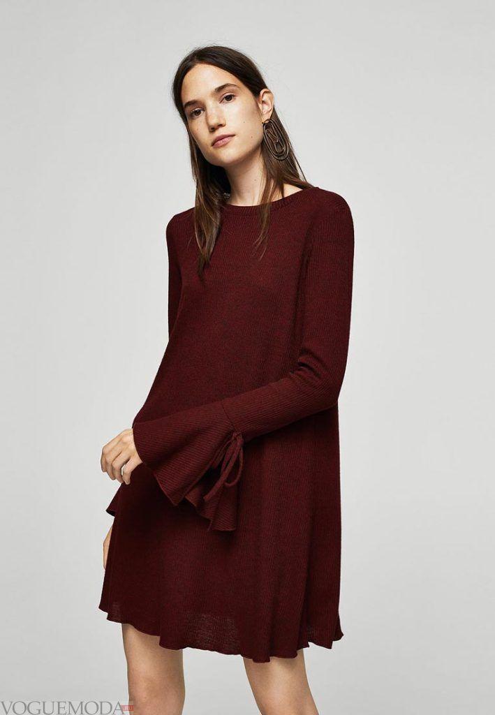 вязаное офисное платье бордовое