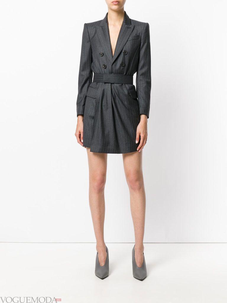 платье-пиджак серое