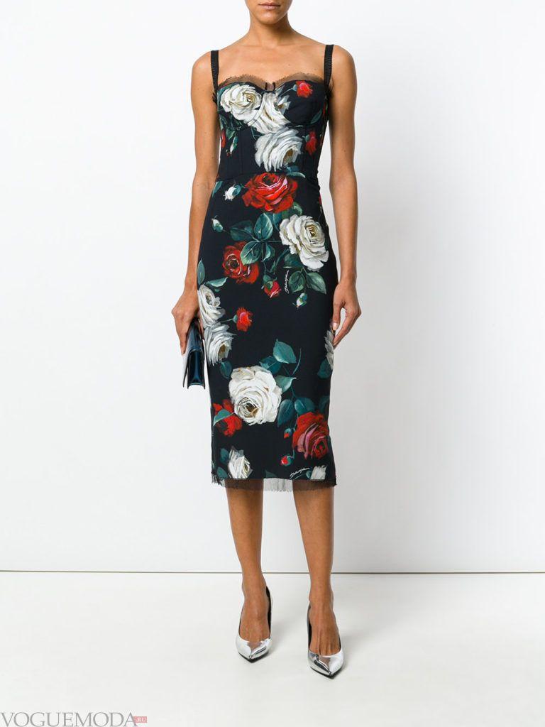 офисное платье-бюстье с принтом