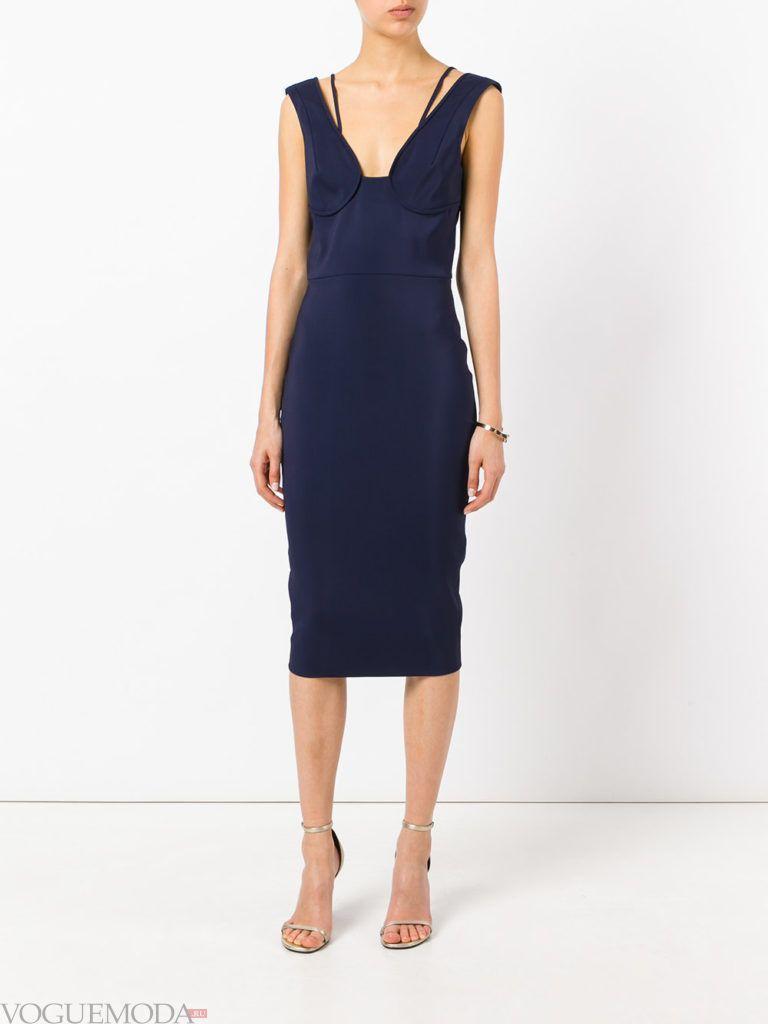 офисное платье-бюстье синее