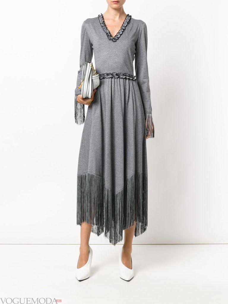 платье с юбкой-солнце серое