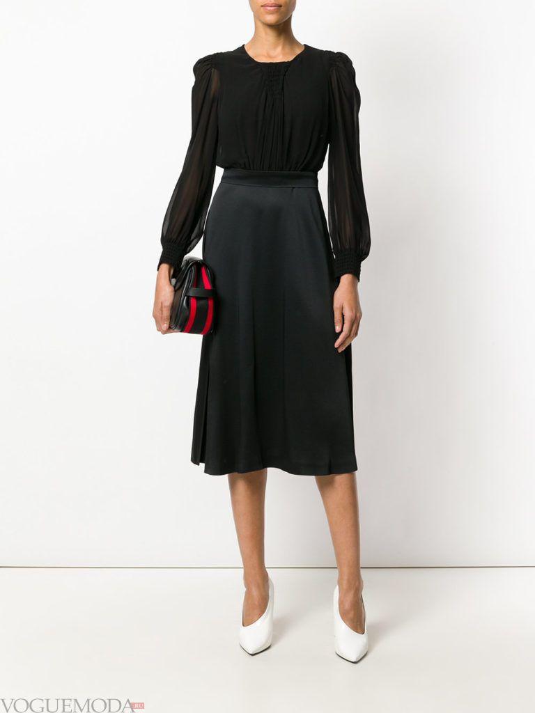 модное офисное платье комбинированное