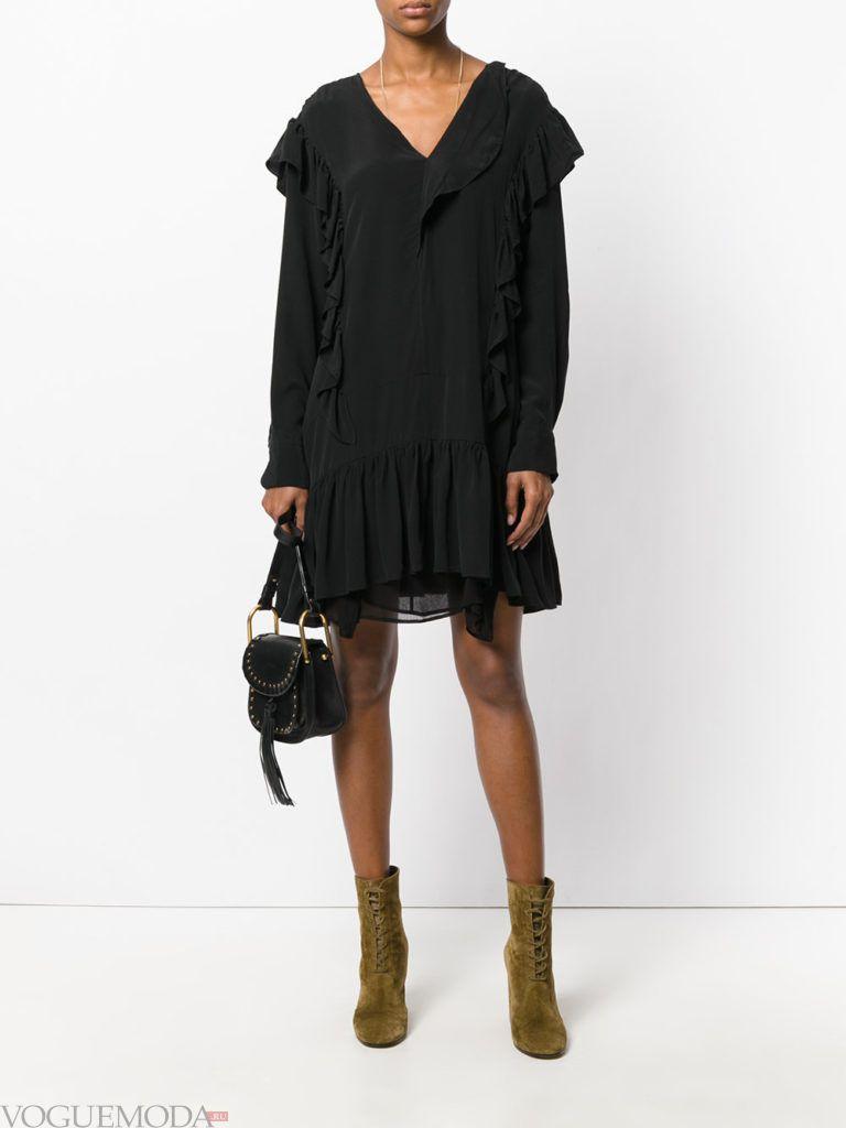 модное офисное платье черное