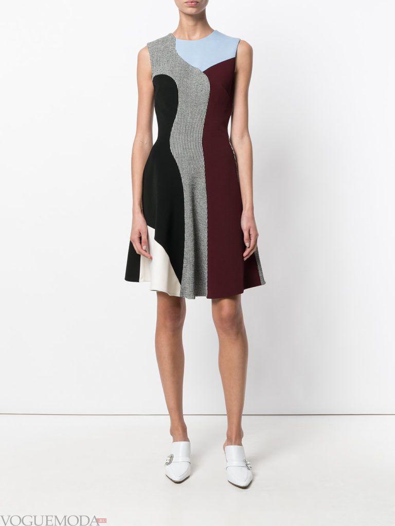 платье с юбкой-солнце двухцветное