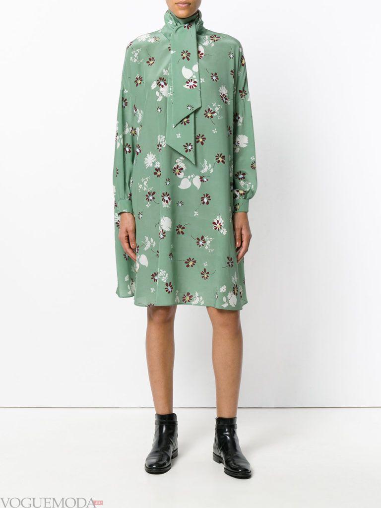 модное офисное платье зеленое