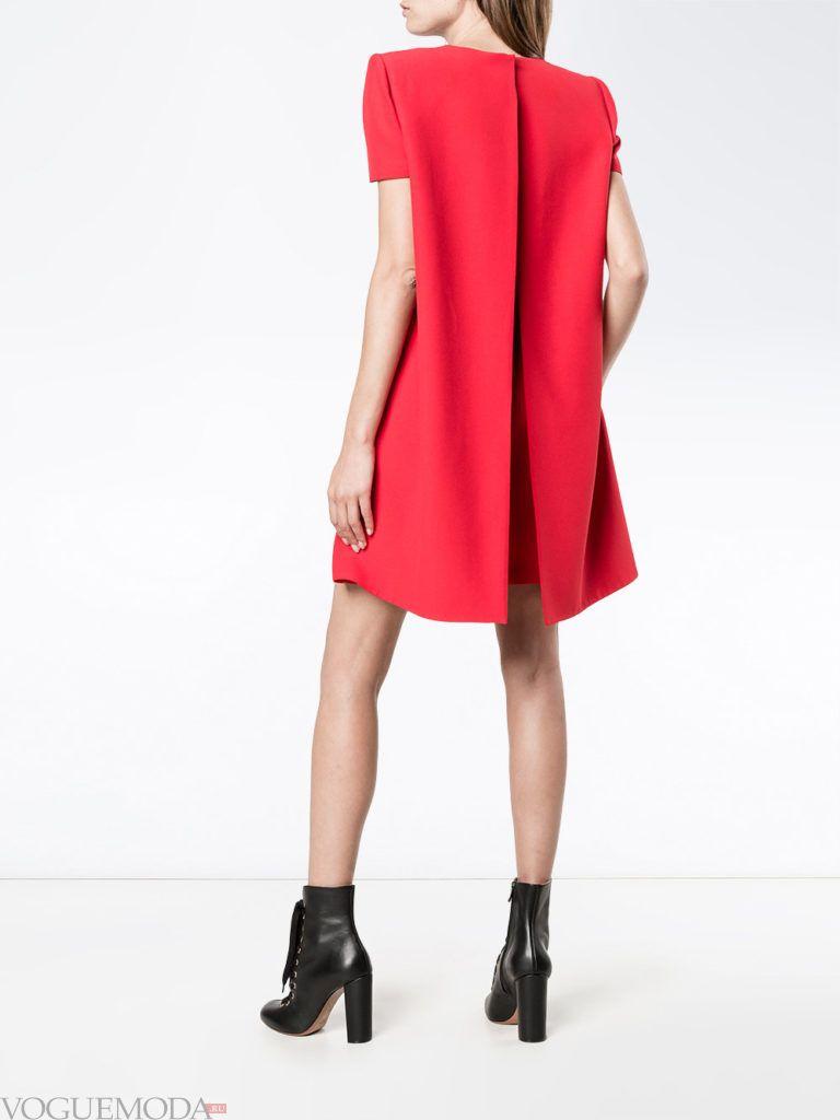 модное офисное платье красное