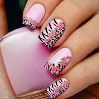 ногти розовые с рисунком достом