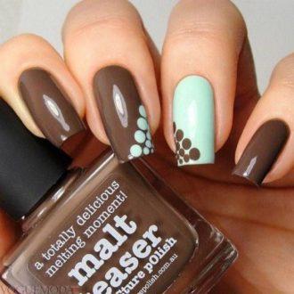 шоколадные ногти с рисунком достом