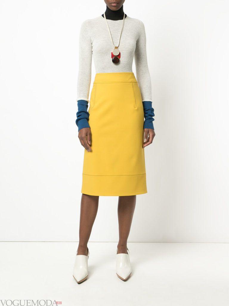 юбка-карандаш желтая