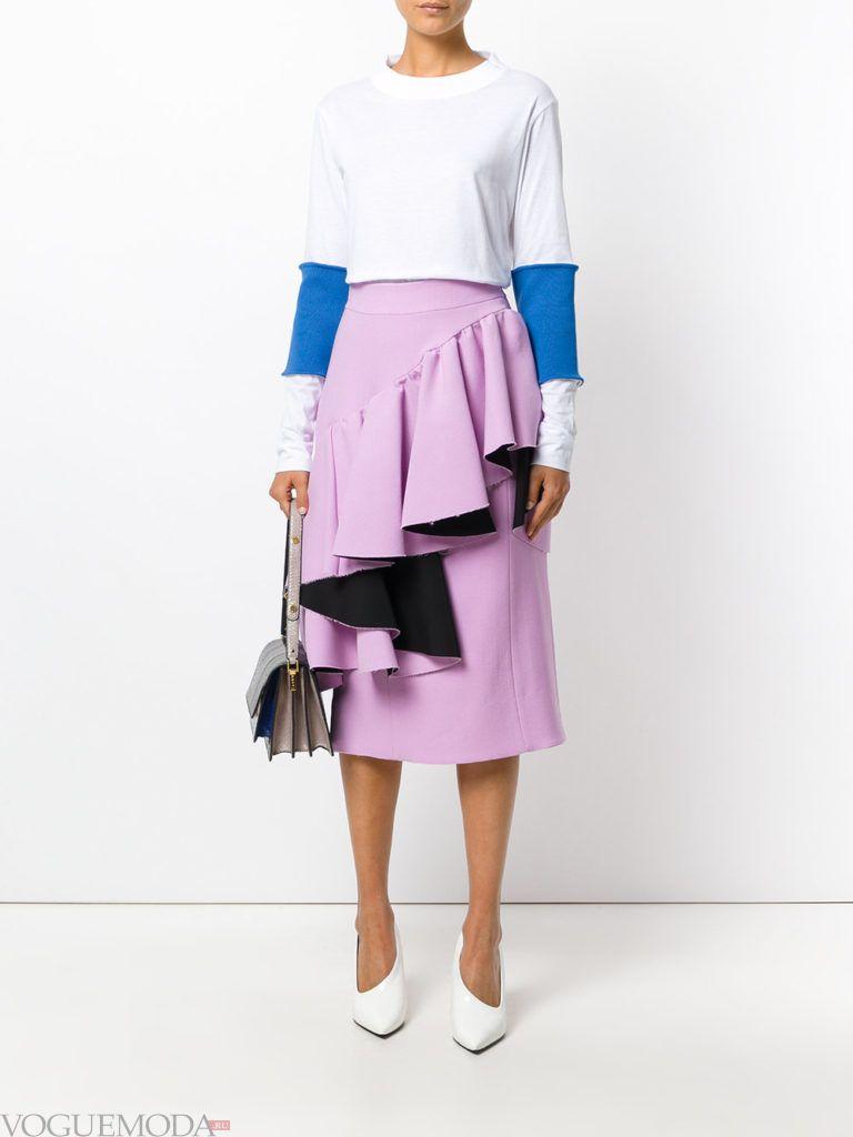 асимметричная юбка сиреневая