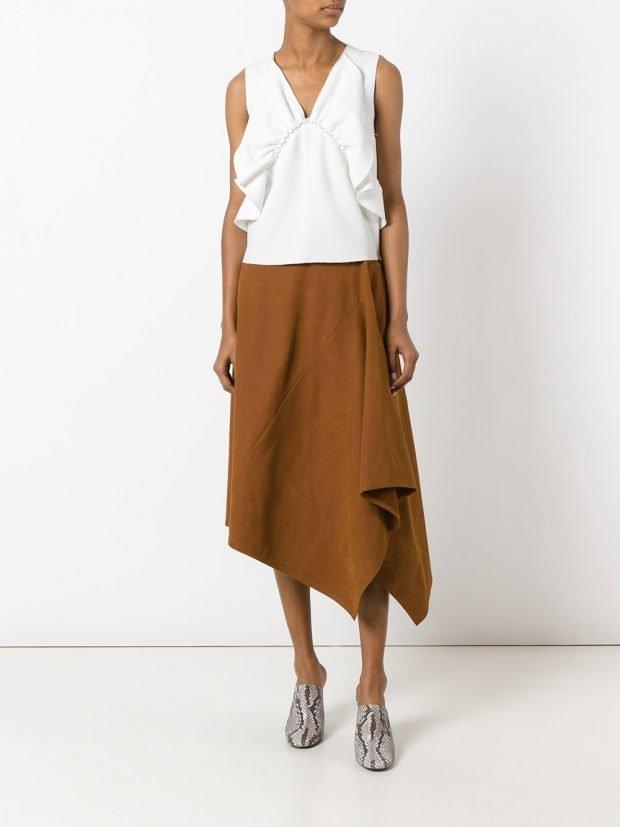 асимметричная юбка коричневая