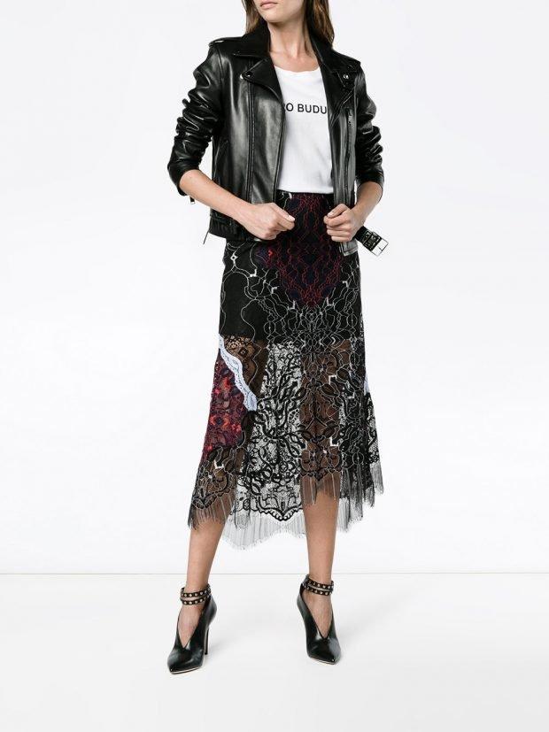асимметричная кружевная юбка