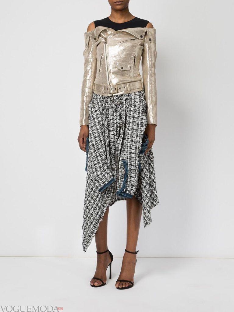 асимметричная юбка серая