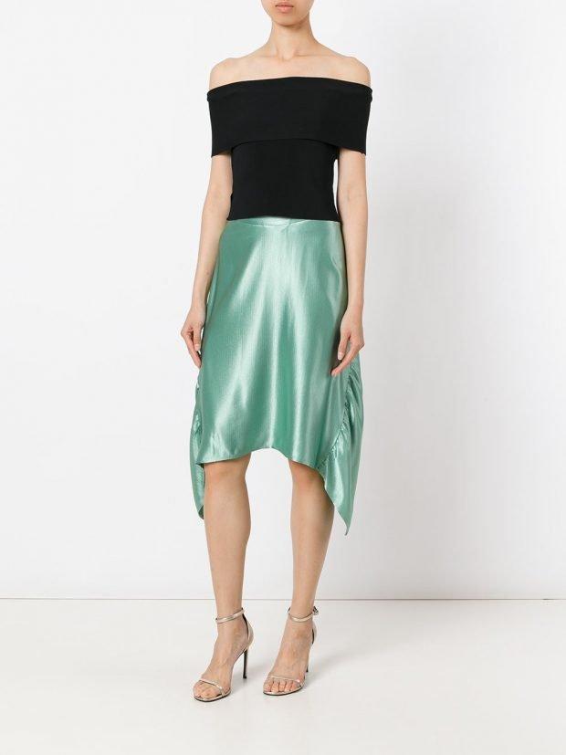 асимметричная шелковая юбка
