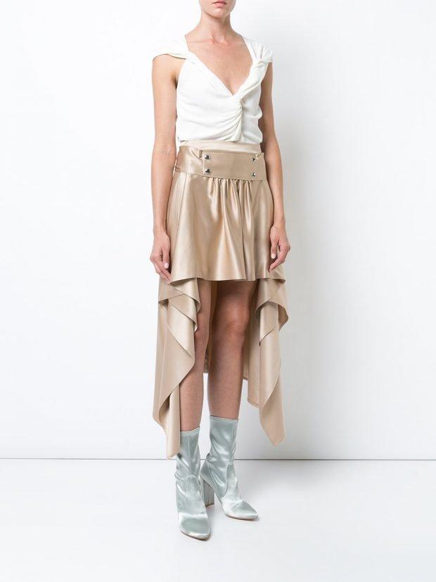 асимметричная бежевая юбка