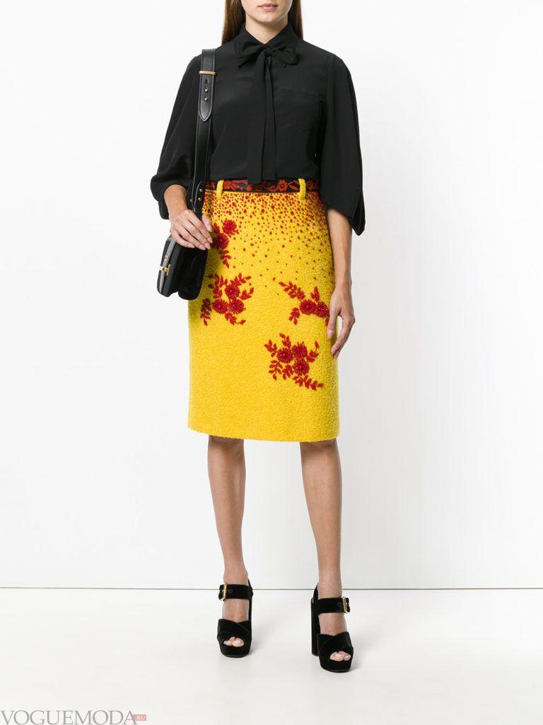 юбка с цветами желтая