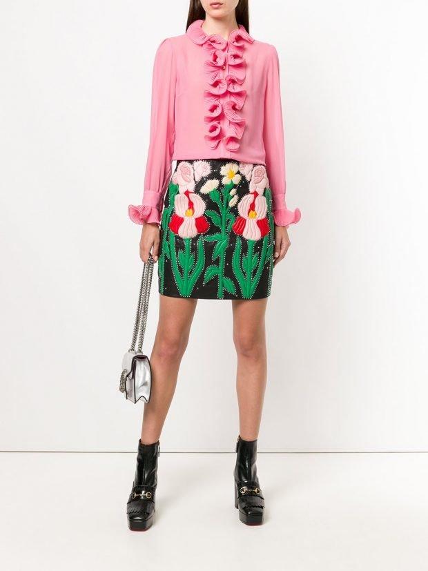 мини юбка с цветами