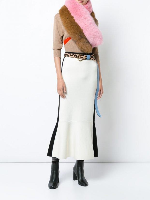 двухцветная трикотажная юбка