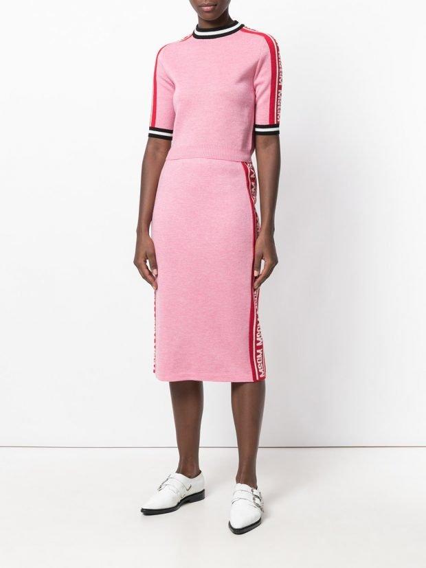трикотажная юбка розовая