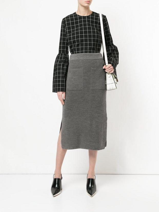 трикотажная юбка серая