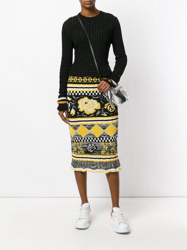трикотажная юбка с узором