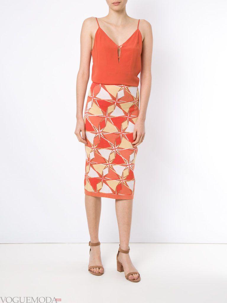 трикотажная юбка с принтом