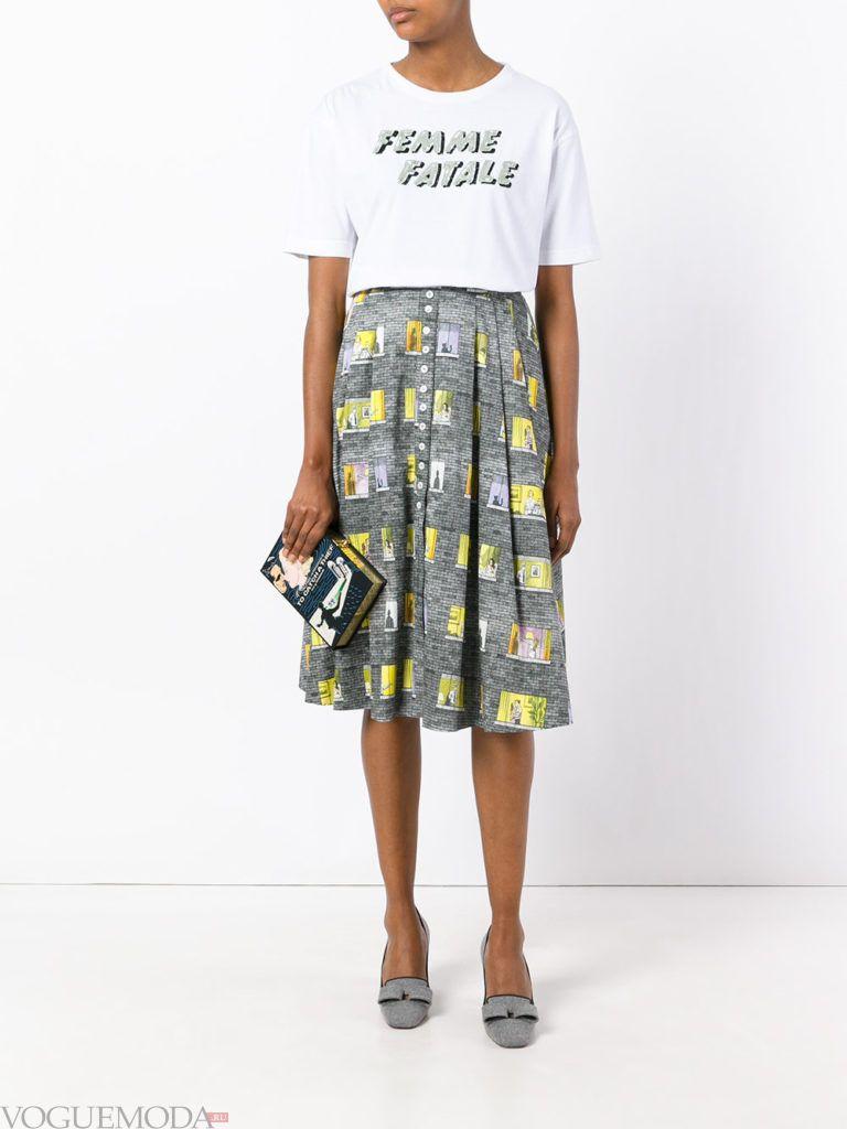 юбка плиссе с принтом