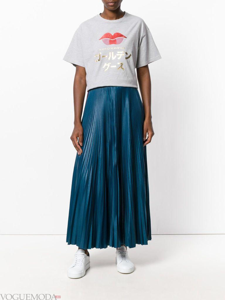 юбка плиссе синяя