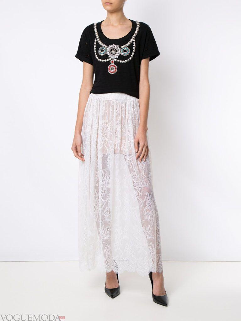 белая юбка кружевная