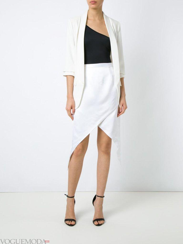 белая юбка асимметричная