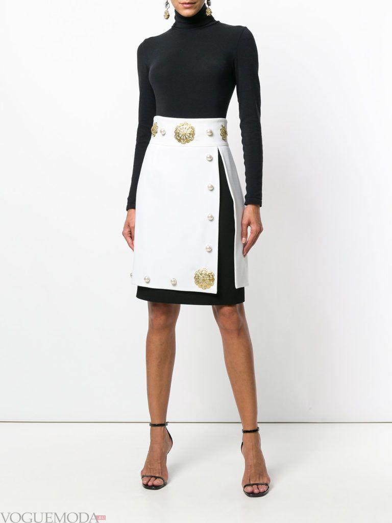 белая юбка с декором