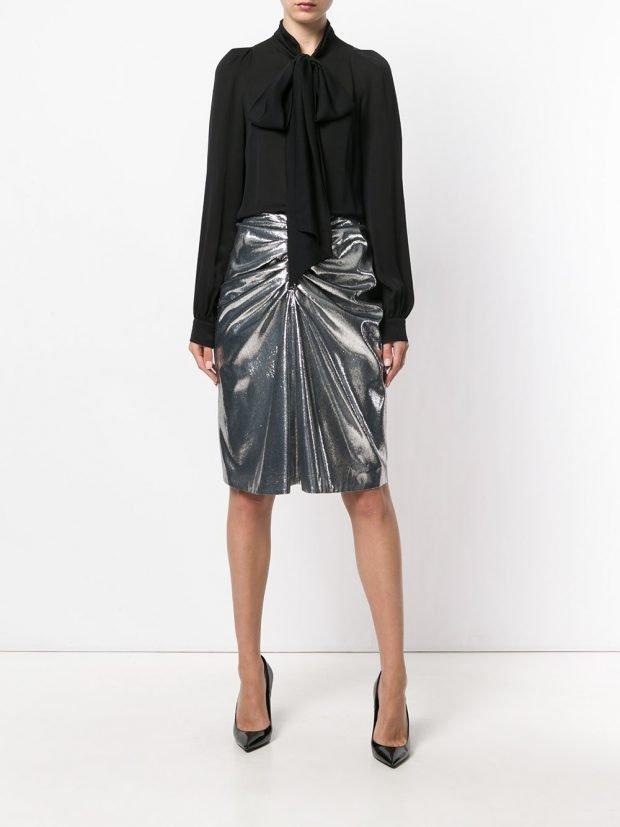 модные юбки весна-лето 2021: металлик