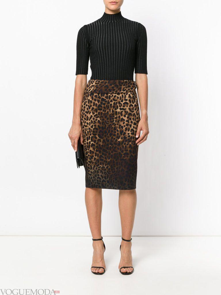 юбка-карандаш леопардовая