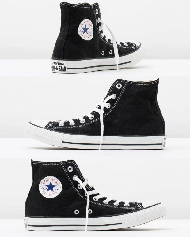 модные женские кеды 2021: черные высокие на белых шнурках