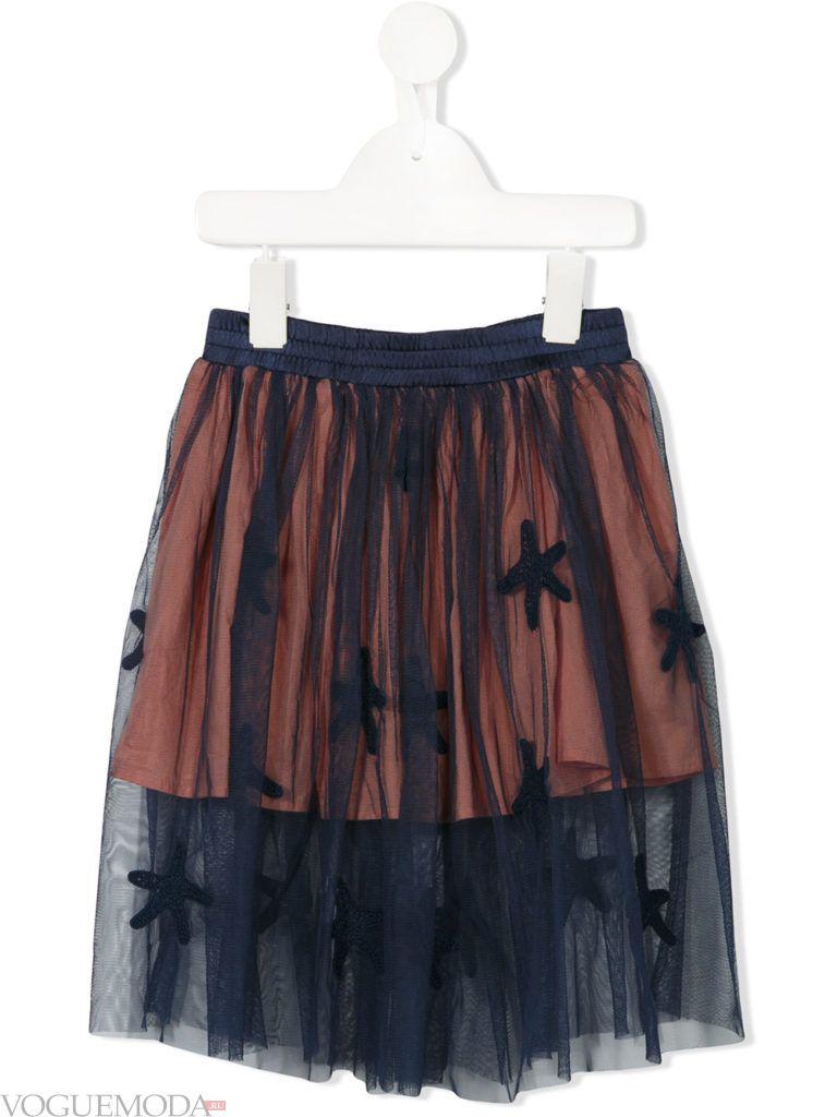 детская двухслойная юбка с декором