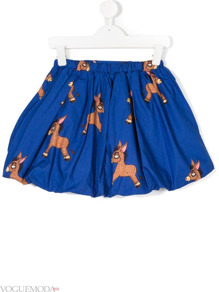 детская синяя юбка клеш с принтом