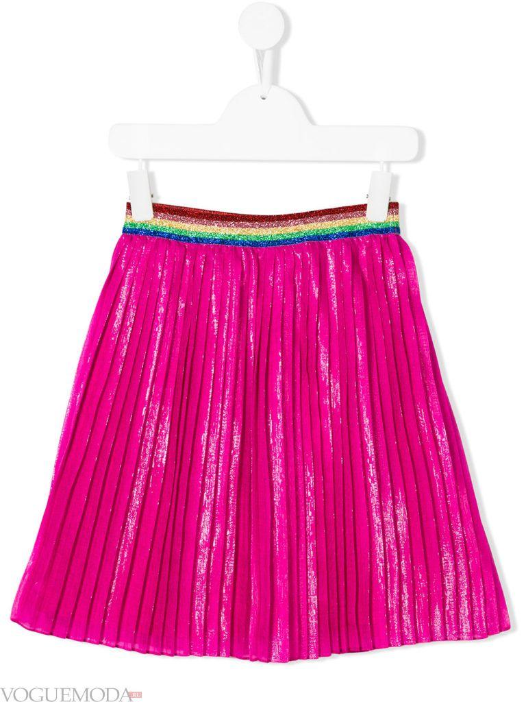 детская розовая юбка плиссе