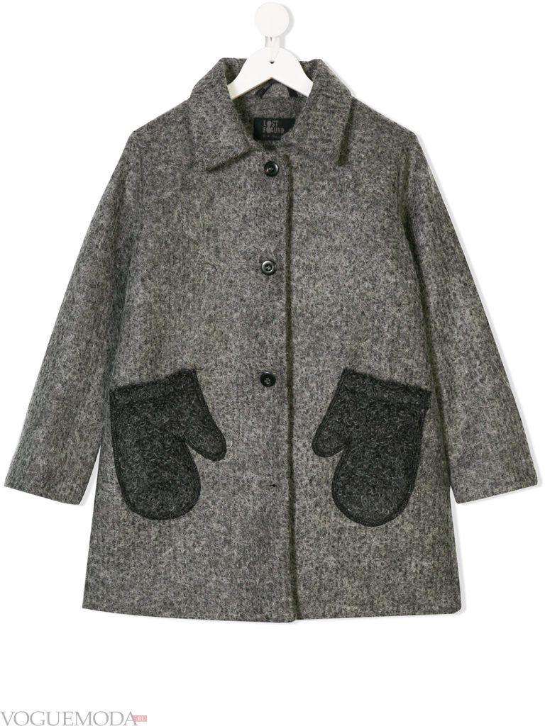 детское серое пальто с накладными карманами