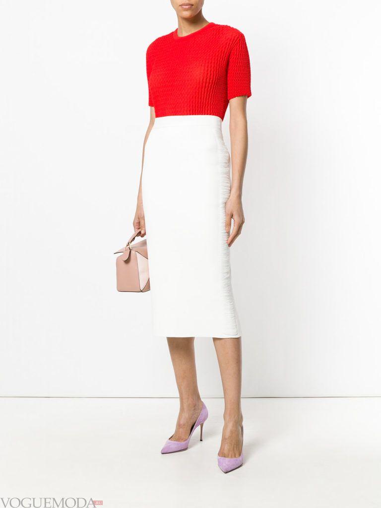 белая юбка карандаш и красная блузка на выпускной