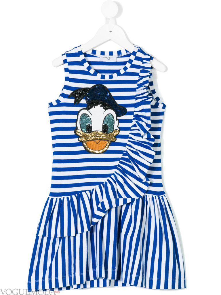 детское полосатое платье с оборками