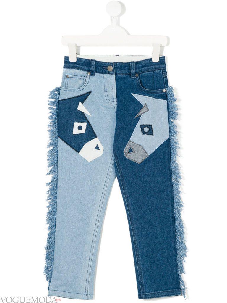 детские двухцветные джинсы с декором