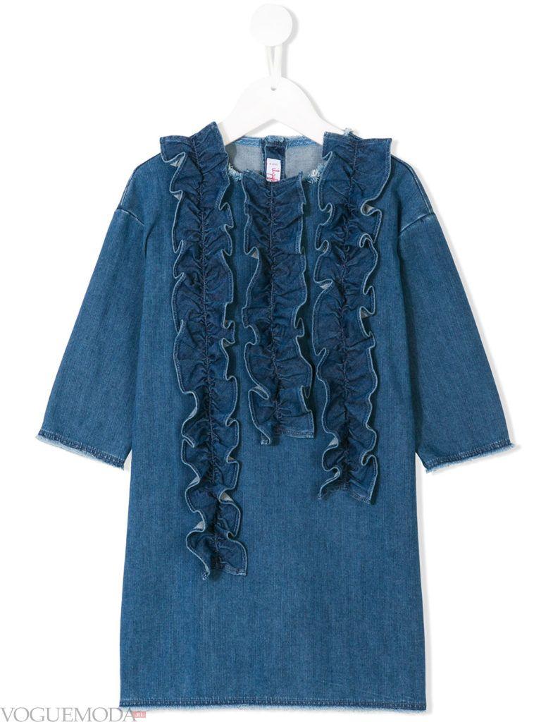 детское джинсовое платье с оборками