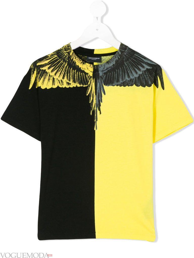 двухцветная детская футболка с декором