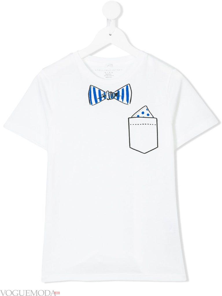 белая детская футболка с бабочкой