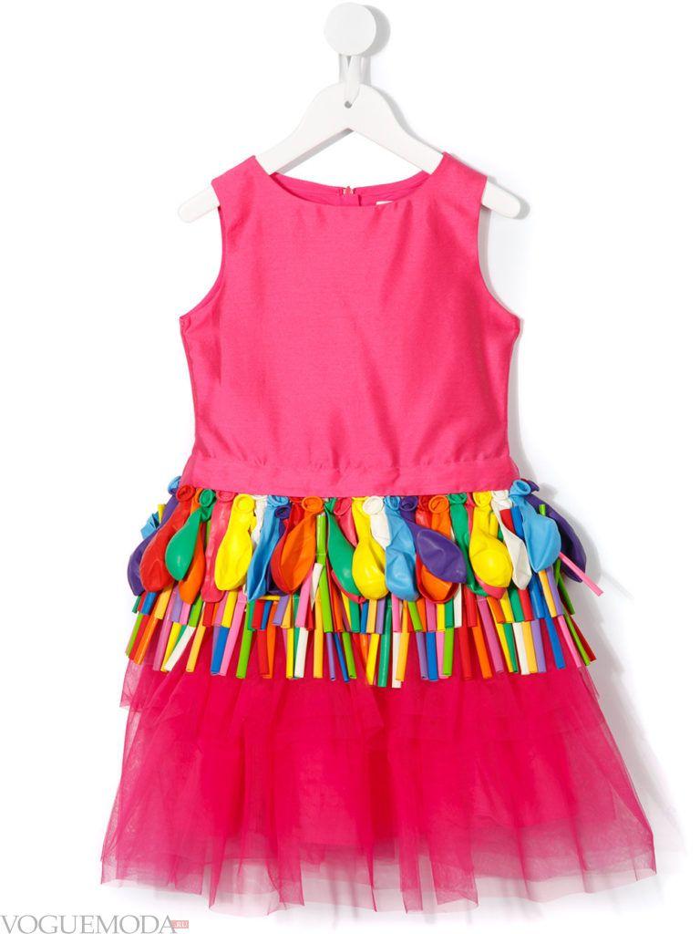 детское розовое многослойное платье